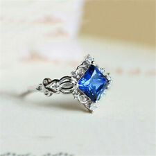Size Silver Blue 2.4Ct Women Fashion 6-10 Wedding Ring 925 Party Topaz Men Ring
