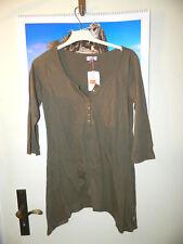*FLASHLIGHTS* modisches Long-Shirt in XS -Gr 32-34- zipflig fallend -in kaki !!!