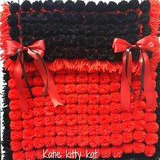 POM POM TURNOVER BABY BLANKET RED & BLACK  WITH REMOVABLE BOWS