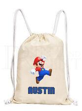 Personalised Boys Mario Drawstring Canvas Gym/ PE Bag
