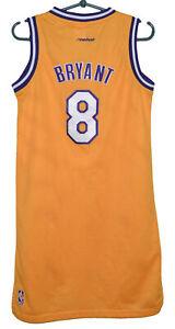 NBA LOS ANGELES LAKERS BASKETBALL SHIRT #8 BRYANT REEBOK SIZE S (LONG FITTING)