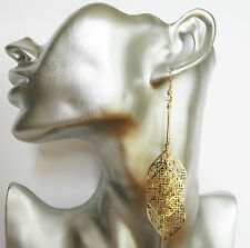 Beautiful Gold Colour Bar & Diamond Shape Etched Dangle Drop Earrings 10 cm Long