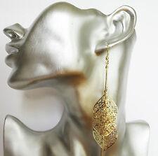 Beautiful Gold Colour Bar & Diamond Shape Etched Dangle Drop Earrings 10 cm Long