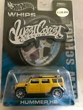 """Hot Wheels """"WHIPS"""" West Coast Customs - Yellow Hummer H2 1/30,000"""