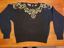Vtg Evan-Picone Black Lambswool Angora Sweater w/ Gold Sequins & Beads Trim Lg