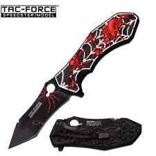 """8"""" TAC FORCE Spring Assisted Opening BLACK RED SPIDER Pocket Knife Folding Blade"""