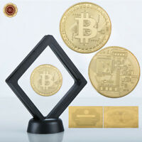 WR 24K Gold BTC Coin In Display Case Physical Bitcoin Gifts For Him + COA
