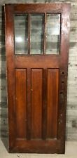 Antique Craftsman Exterior Stained Wood French Entry Door /w 3 Pane Glass 32x80