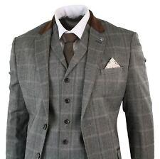 Mens Check Tweed Wool 3 Piece Tan Brown Beige Suit Vintage Retro Tailored Fit