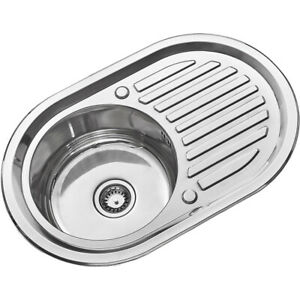 Stainless Steel Home Kitchen Sink Catering Bowl Oval Sink Plumbing Kit Bowl Set