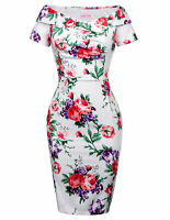 Retro Vintage Short Sleeve Off Shoulder Bodycon Pencil Dress Slim Fit Floral