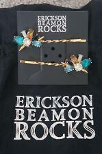 NEW Erickson Beamon Rocks Blue Blondie Gold Plat Crystal Cluster Setof 2HairPins