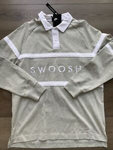Mens Size Large Nike Swoosh Long Sleeve Rugby Polo Shirt Gray CV0169-063