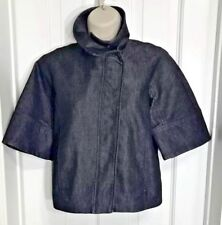 KENNETH COLE NEW YORK JEANS JACKET CROPPED DARK WASH 3/4 SLEEVE FRONT/ZIP