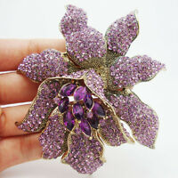 Vintage Style Luxury Purple Rhinestones Crystal Orchid Flower Brooch Pin