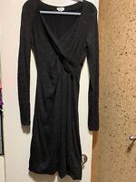 Max Mara Gray Midi Bodycon Lined Wool Lana V-Neck Warped Dress Sz 42 IT, 6 US