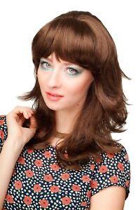 Women's Wig Fringe Braun Brunette Lightweight Curly Wavy Medium Length CM-177