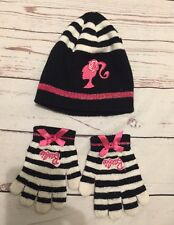 Barbie Size 1-3 Years Black/White Striped Hat and Mittens *Gloves Set VGC!!!