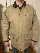 Marlboro Men's Canvas Beige Coat Size XL Leather Trim Cowboy Chronicles NWT