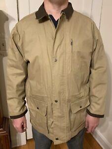 Marlboro Men's Canvas Beige Coat Size XL Leather Trim Cowboy Chronicles NWT