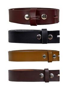 Men Real Leather Belt Strap Stud Snap Clip on Cow Leather Belt Straps 37-38 mm