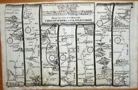 YORKSHIRE FERRYBRIDGE BARNARD CASTLE WAKEFIELD  Antique Strip Road Map 1719