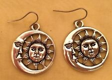 Large Detailed Silver Plated Eclipse Half Moon Sun Boho Spirit Bohemian Earrings