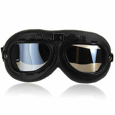 Ediors WWII-RAF Vintage Aviator Pilot Black Motorcycle Half Helmet Goggles Clear