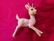 Vintage Rubber/Plastic Iridescent Pink/Beige Reindeer Japan