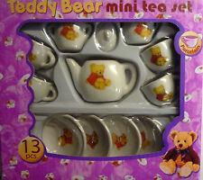 13 Piece Teddy Bear Toy Mini Porcelain China Tea Set (with Teddy Bear Design)