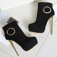 Men's Ankle Boots Drag Queen Suede Heels Crossdresser Stiletto Brown Women Shoes