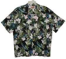 Sz 2XL BANANA JACK Hawaiian Aloha Shirt TROPICAL ORCHIDS Black/White Multi Rayon