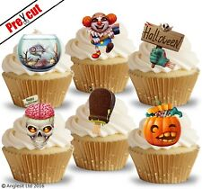 PRE-CUT CREEPY HALLOWEEN MIX EDIBLE WAFER PAPER CUP CAKE TOPPERS DECORATIONS
