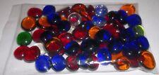 """New listing Lot of 64 Asst Color Glass Flat Stones ~ Aquarium, Crafts Aprox. 3/4"""" Vgc*"""