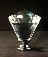 LAMP FINIAL-CROWN DIAMOND OPTIC CRYSTAL LAMP FINIAL WITH POLISHED CHROME BASE