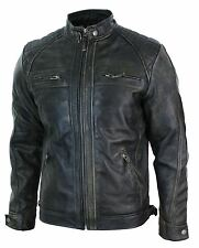Mens Retro Zipped Biker Jacket Real Leather Washed Soft Black Brown Vintage