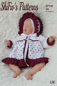 Knitting Pattern for Babies Matinee Jacket and Bonnet, Baby Knitting Pattern,...