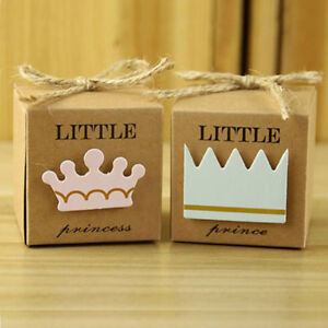 LITTLE PRINCE/PRINCESS BLUE/PINK CROWN BABY SHOWER GIFT BOX TABLE DEC/PRESENT
