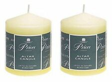 2 x Price's Large Ivory Church Candles Altar Pillar Candle 100mm x 80mm