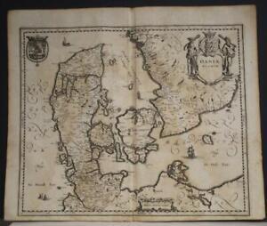 DENMARK & SWEDEN 1646 MATTHÄUS MERIAN UNUSUAL ANTIQUE COPPER ENGRAVED MAP