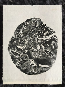 """CLIFFORD WEBB RBA, RE 1895-1972 """"Impalas and Crows"""" Original WOODCUT Unsigned"""