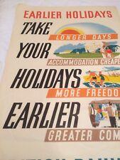Original Vintage travel Poster 1950s British Rail beach sunshine holidays