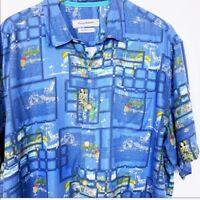 Tommy Bahama Shirt Mens XL Silk Hawaiian Button Down Camp Hula Girl Print