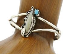 & Mop Cuff C.80's Navajo Bracelet .925 Silver Turquoise