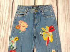 Zara Floral Patch Vintage Cassette Tape Applique Skinny Jeans W26 EUR 34