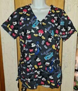 Disney Dark Gray/Multicolor Mickey Mouse V Neck Scrub Top Sz S/M