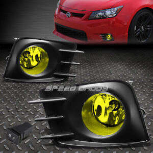 FOR 11-13 SCION TC AMBER LENS BUMPER FOG LIGHT REPLACEMENT LAMP W/BEZEL+SWITCH
