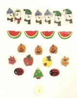 Adorable Gold and Silver Tone Lot of 22 Button Covers Snowman Pumpkin Fruits