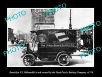 OLD 8x6 HISTORIC PHOTO OF BROOKLYN NY OLDSMOBILE STEEL DRAKE BAKERY CAR c1910