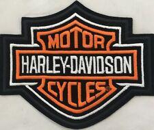Harley Davidson Orange & Black, Bar & Shield Emblem Motorcycle Vest EMB302383